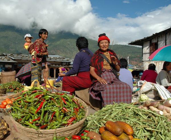 Auf einem bhutanesischen Markt