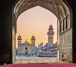 Blick auf die Wazir Khan-Moschee, Lahore