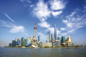 Blick auf das Geschäftsviertel Pudong in Shanghai