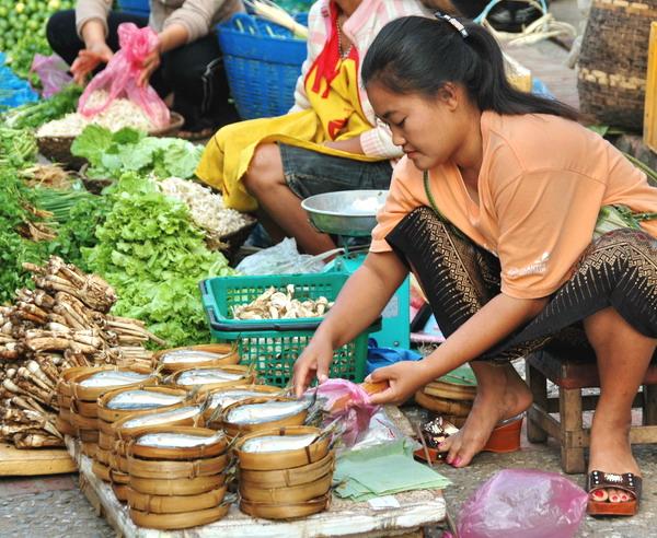 Verk?uferin auf einem Markt in Laos